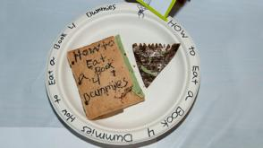 Photo of an edible book titled how to eat a book 4 dummies.