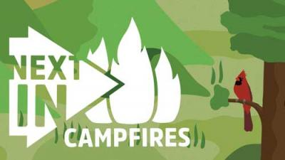 Next Indiana Campfires logo over a graphic of a tree and cardinal.