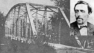 late 20th century photo of Baums Bridge with inset portrait of John C. Brain.