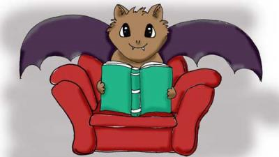 cartoon of a bat in a chair reading a book