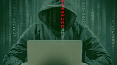 Faceless hacker with a laptop and scrolling text reading password.