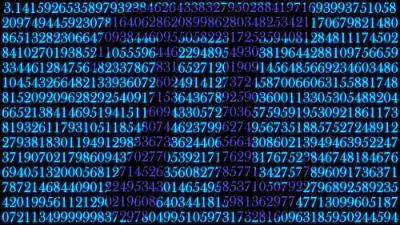 Graphic of the pi symbol hovering over several hundred digits of pi.