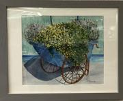 Photo of watercolor of flowers in a blue vintage wheelbarrow.