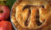 Apple pie with a pi shape cut in the crust