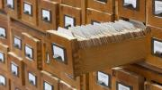 library card catalog with drawer extended