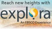 Graphic of the explora logo, a hot air balloon, floating over a large city.