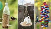 Photos of a soda bottle, teacup and saucer, and legos used as bird feeders.