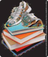 Drawing of athletic shoes on a pile of books.