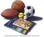 Drawing of a football, basketball, soccer, softball, baseball and books.