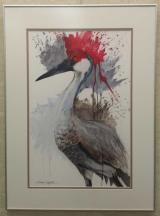 Closeup of a watercolor of a  sandhill crane.