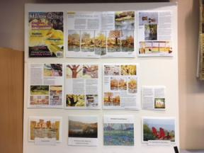 Display of an article in Machine Quilting magazine featuring her work.