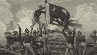 Black and white drawing of a man raising a flag on a bunker above soldiers.