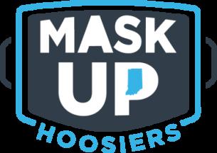 mask up hoosiers logo in shape of a mask