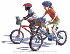 Children riding bikes with the front baskets stuffed with books.