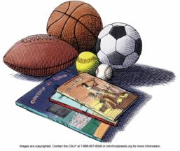 Drawing of a football, basketball, soccer, softball, baseball and books.