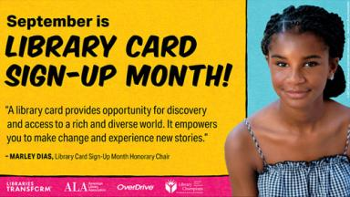 Image of Marley Dias, 2021 Library Card Sign-up Month Honorary Chair.