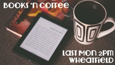 Graphic of an e-reader next to a coffee cup.