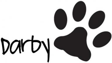 Darby's signature and a paw-print
